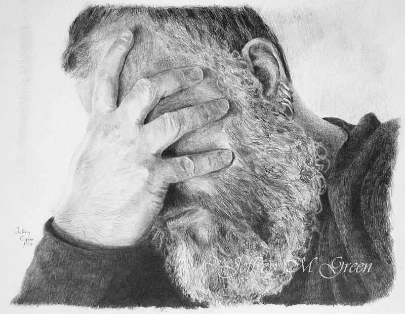 "Drawing ""Heavy"", Prayer Series II, 11"" x 14"", graphite pencil. by Jeffrey Green"
