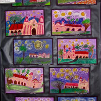 Gr.1-Starry Night over the Santa Barbara Mission in Chalk Pastel by Victoria Avila
