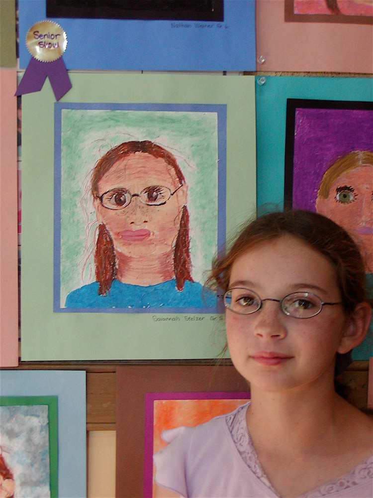 Grade 4: Self Portraits and facial proportions - Chalk pastel by Victoria Avila
