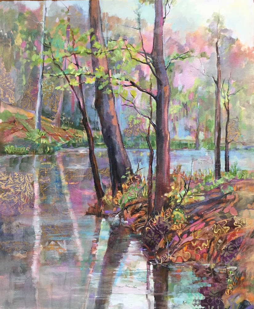 Acrylic painting River Reflection by Marty Husted