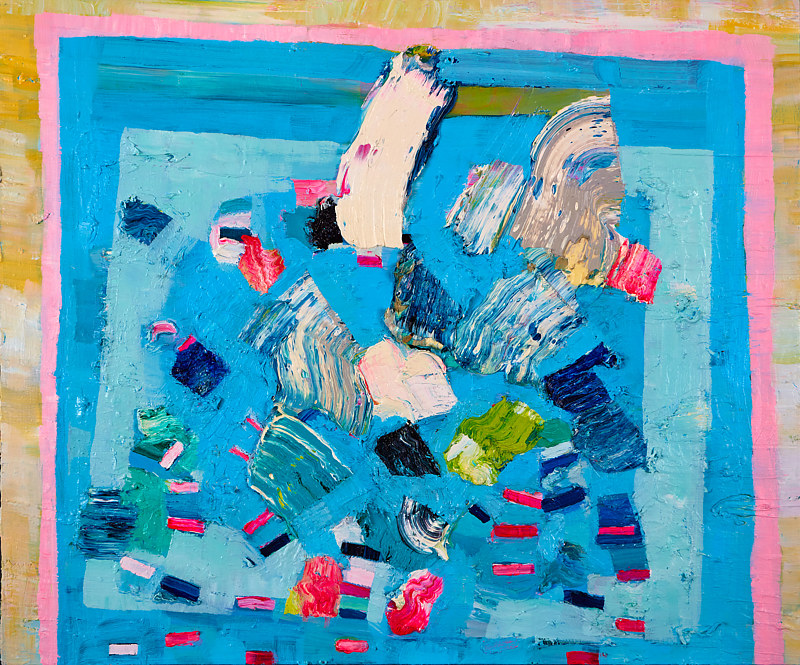 Oil painting Swimming Pool  by Julie Gladstone
