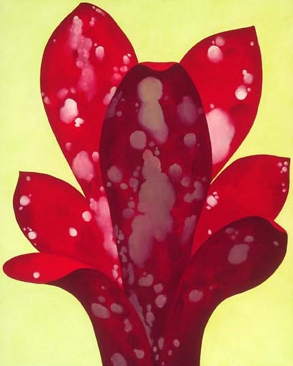 Oil painting Claret Crimson Fountain by Laurie Flaherty