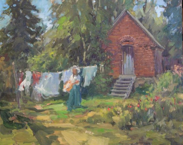 Oil painting Washday at Lucy's House by Susette Gertsch