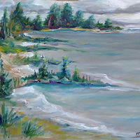 Oil painting MacGregor Point Provincial Park. Day use dog beach, no dogs present. July 3 by Michelle Marcotte