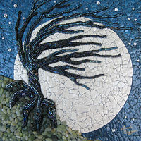 Mixed-media artwork Windy Night by Linda Biggers