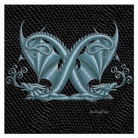 "Print Dragon Letter 'X', 4""x 4"" Silver on Jet Black Dragonskin by Sue Ellen Brown"