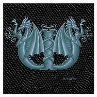 "Print Dragon W 2.0, 4""x 4"" Silver on Jet Black Dragonskin by Sue Ellen Brown"
