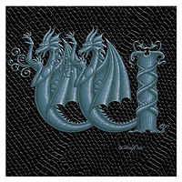 "Print Dragon W 1.0, 4""x 4"" Silver on Jet Black Dragonskin by Sue Ellen Brown"