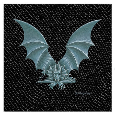"Print Dragon Letter 'V', 4""x 4"" Silver on Jet Black Dragonskin by Sue Ellen Brown"