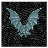 "Print Dragon V, 4""x 4"" Silver on Jet Black Dragonskin by Sue Ellen Brown"