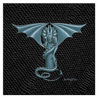 "Print Dragon T-1.0, 4""x 4"" Silver on Jet Black Dragonskin by Sue Ellen Brown"