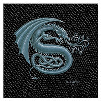 "Print Dragon S, 4""x 4"" Silver on Jet Black Dragonskin by Sue Ellen Brown"