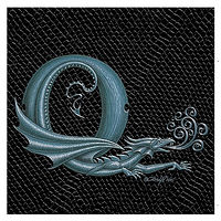 "Print Dragon Q, 4""x 4"" Silver on Jet Black Dragonskin by Sue Ellen Brown"