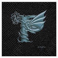 "Print Dragon P, 4""x 4"" Silver on Jet Black Dragonskin by Sue Ellen Brown"
