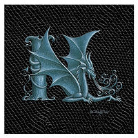 "Print Dragon N, 4""x 4"" Silver on Jet Black Dragonskin by Sue Ellen Brown"