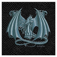 "Print Dragon M, 4""x 4"" Silver on Jet Black Dragonskin by Sue Ellen Brown"