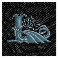 "Print Dragon L, 4""x 4"" Silver on Jet Black Dragonskin by Sue Ellen Brown"