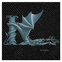 "Print Dragon K, 4""x 4"" Silver on Jet Black Dragonskin by Sue Ellen Brown"