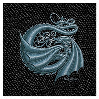"Print Dragon G, 4""x 4"" Silver on Jet Black Dragonskin by Sue Ellen Brown"