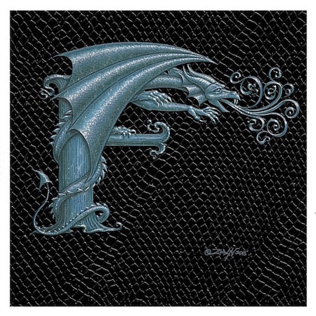 "Print Dragon Letter 'F', 4""x 4"" Silver on Jet Black Dragonskin by Sue Ellen Brown"