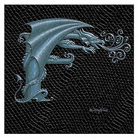 "Print Dragon F, 4""x 4"" Silver on Jet Black Dragonskin by Sue Ellen Brown"