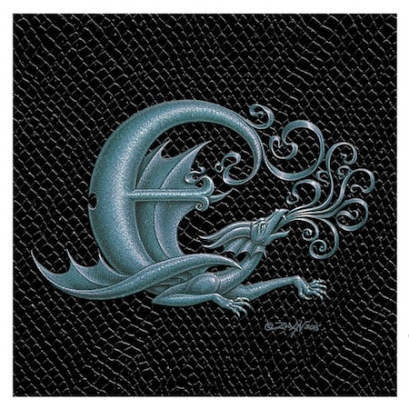 "Print Dragon Letter 'E', 4""x 4"" Silver on Jet Black Dragonskin by Sue Ellen Brown"