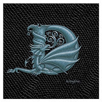 "Print Dragon D, 4""x 4"" Silver on Jet Black Dragonskin by Sue Ellen Brown"