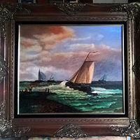 Oil painting Dutch Fishing vessel pulling out of the harbor by Frans Geerlings