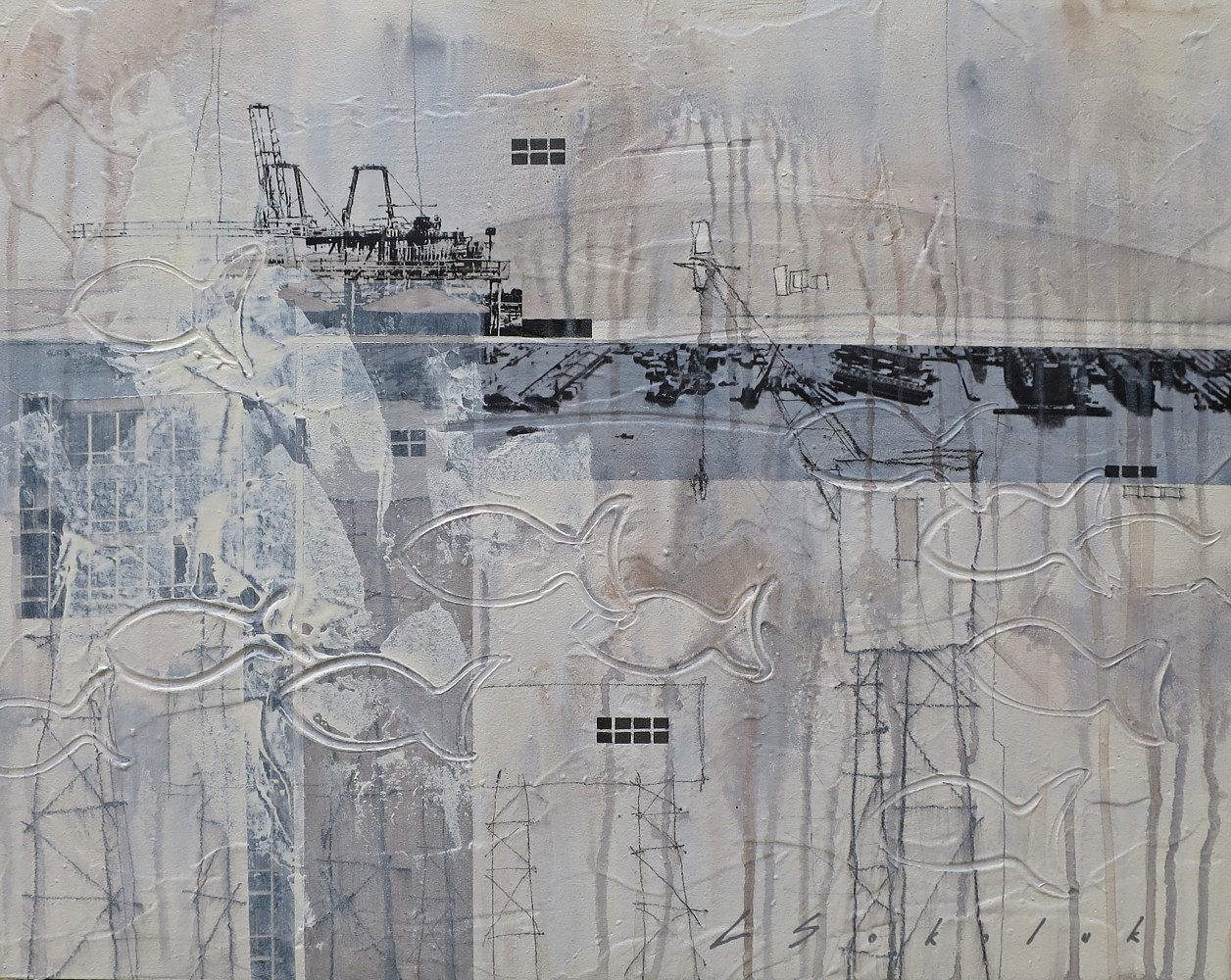 Mixed-media artwork Harbour Lines by Lori Sokoluk
