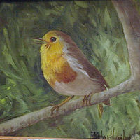 Oil painting Little Yellow Bird by Barbara Haviland