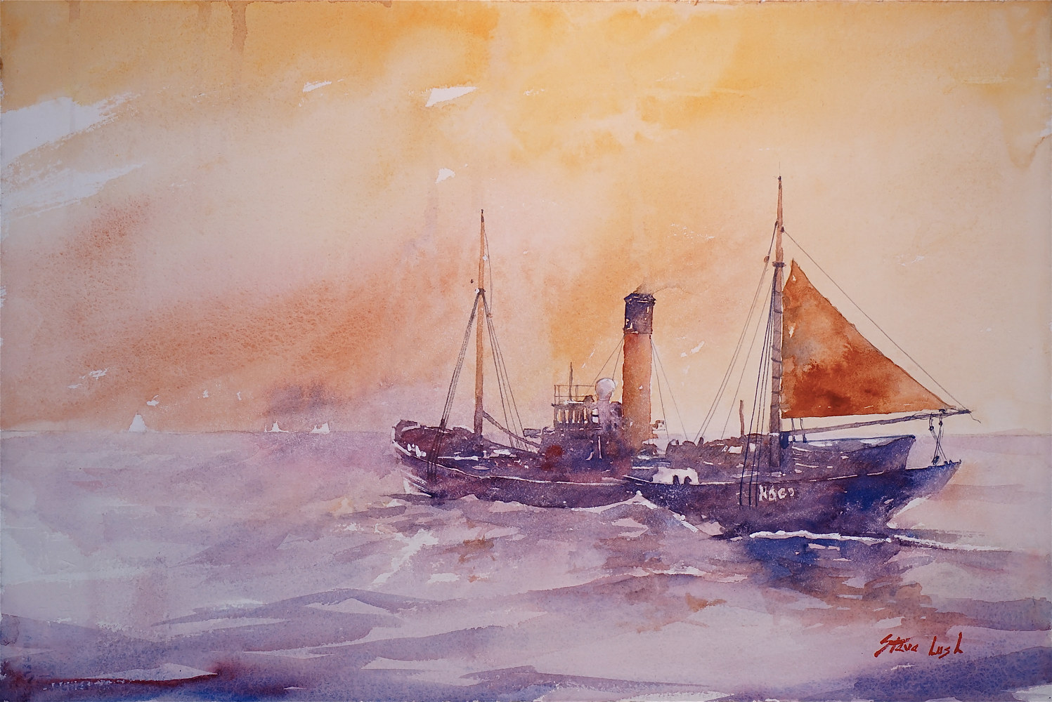 Watercolor Into the North Sea by Nella Lush