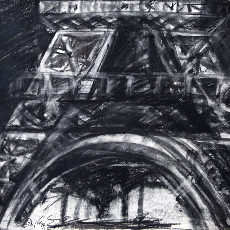 (c) 2015 Eiffel in Charcoal by Lully Schwartz