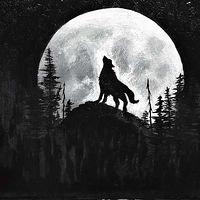 Acrylic painting Moon Wolf by George Servais