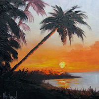 Oil painting Palm Tree At Sunset by Barbara Haviland