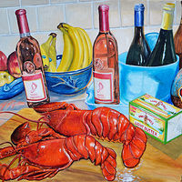 Oil painting Still-Life With Lobster  by Richard Ficker