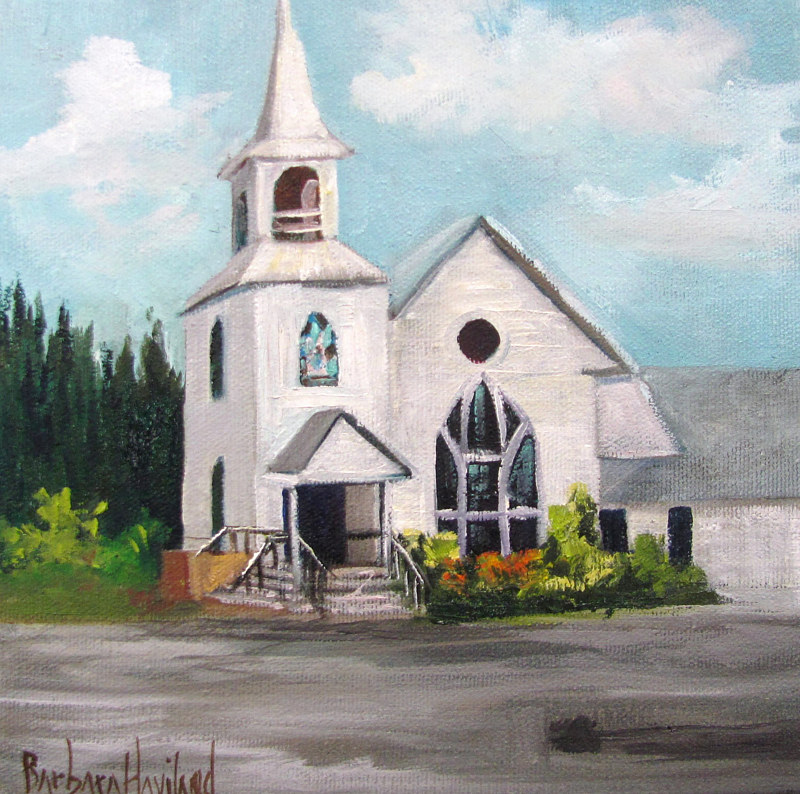 Painting White Church by Barbara Haviland