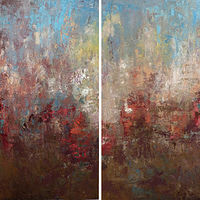 Crimson Blooming_72x48(diptych) by Adam Thomas