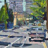 Oil painting Hot Day SE 7th by Shawn Demarest