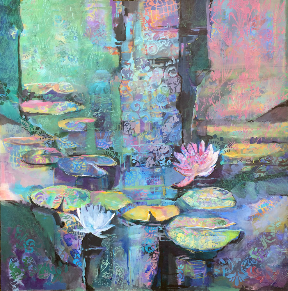 Mixed-media artwork Lilys Abstracted by Marty Husted