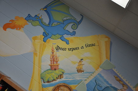Painting NOBLETON P. S. - LIBRARY MURAL DETAIL -Once Upon A Time - Junior section by Cindy Scaife