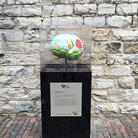 Painting BAYCREST BRAIN PROJECT - Food For Thought - installed at the Distillery District in Toronto by Cindy Scaife
