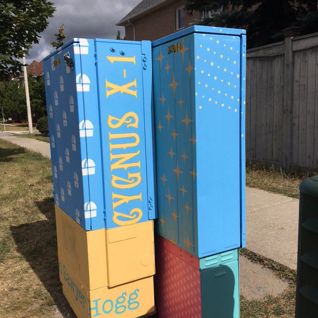 Painting Bell Box Public Mural Project - view looking north by Cindy Scaife