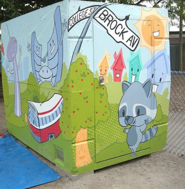 Painting Brock Early Learning Centre - Storage Unit Mural by Cindy Scaife