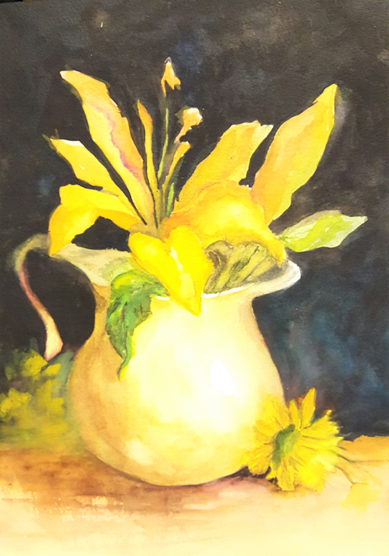 Painting Yellow Lilies and Pitcher, Watercolor by Barbara Haviland