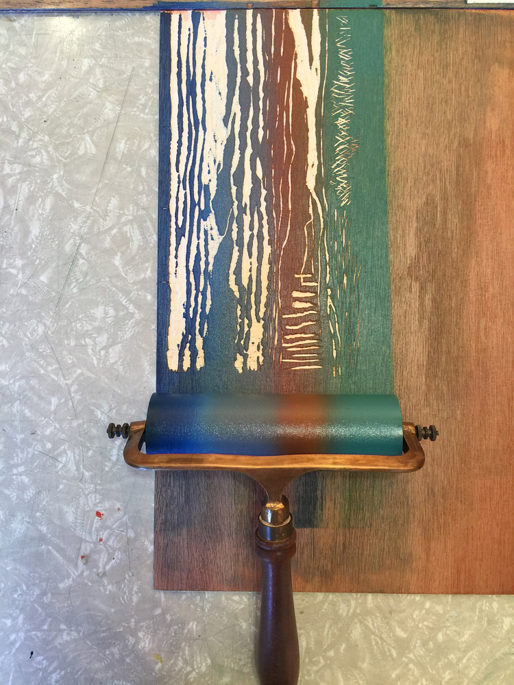 Print Applying blended roll to woodcut by Cathie Crawford