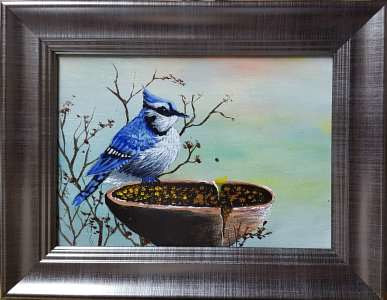 Acrylic painting Bluebird Banquet by George Servais