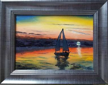 Acrylic painting Sunset Sail by George Servais