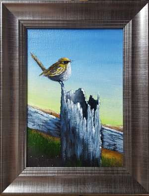 Acrylic painting Resting Wren by George Servais