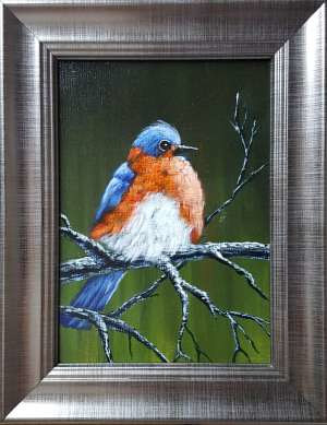 Acrylic painting Eastern Bluebird by George Servais