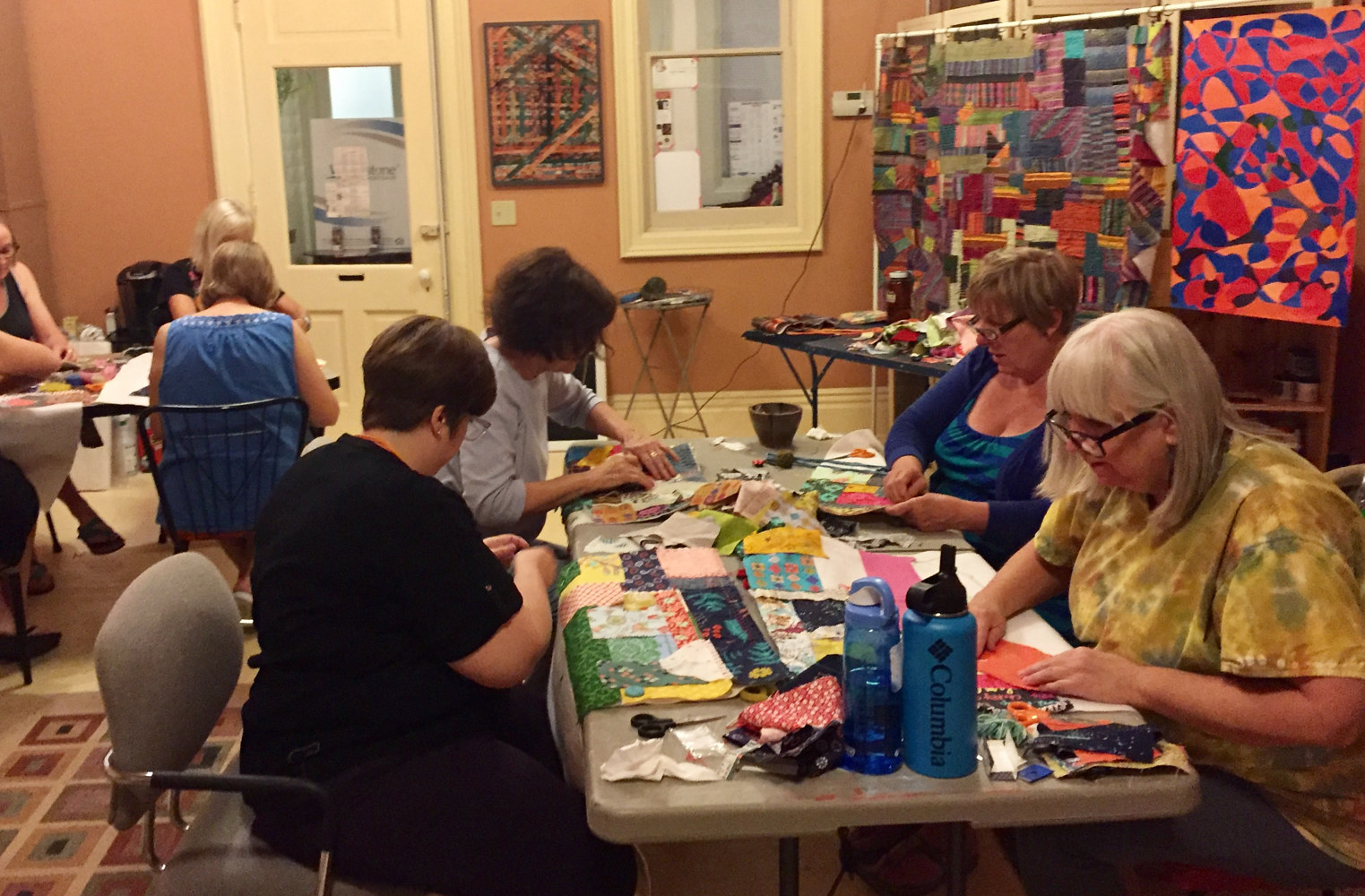 Intro to slow-stitching quilting collage, Maker-space studio 2017 by Maday Delgado